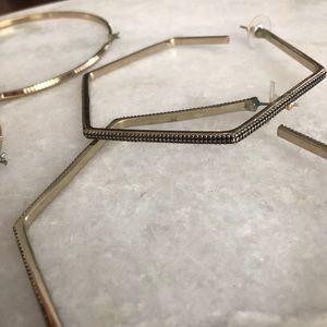 2 Pairs of Large Gold Hoop Earrings